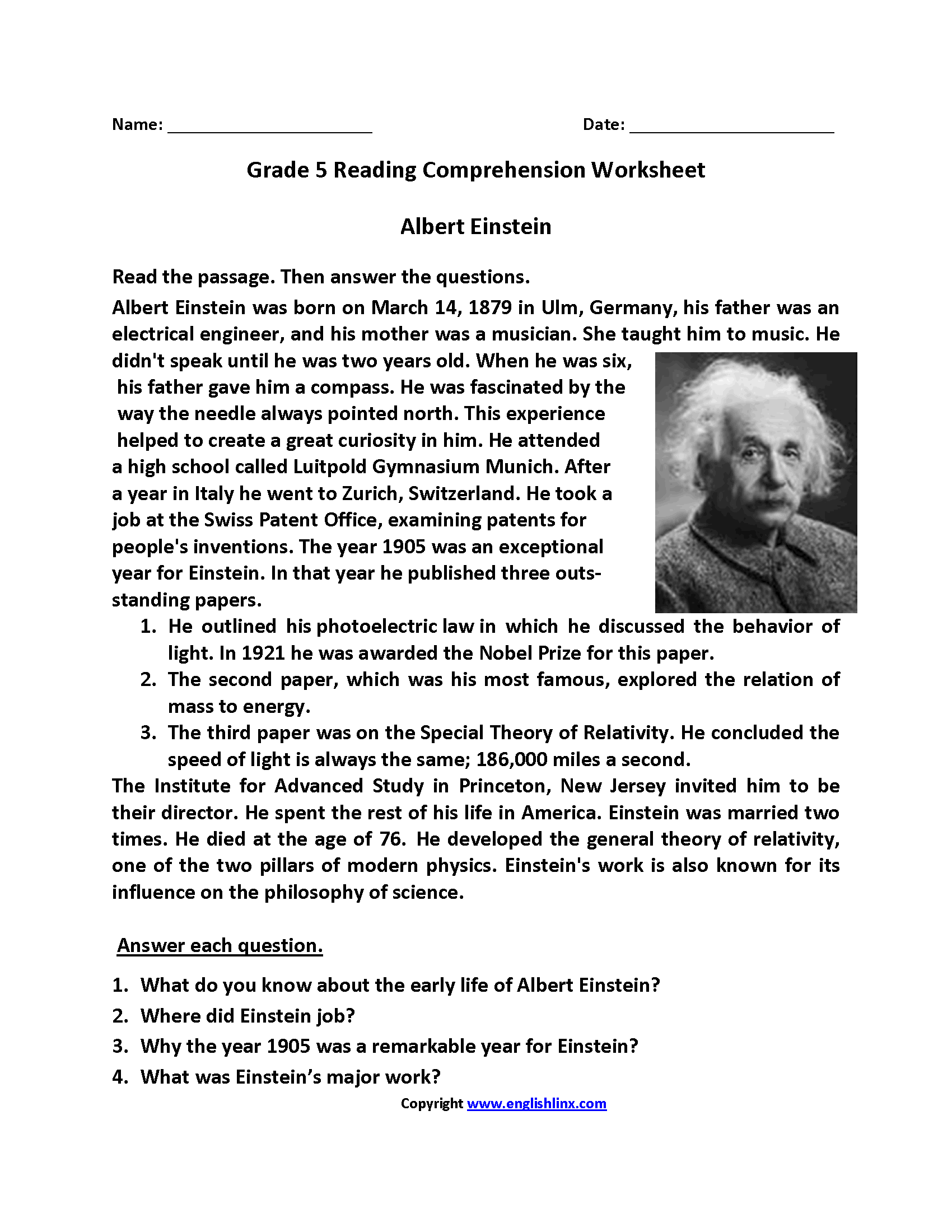- English Worksheets Reading Worksheets