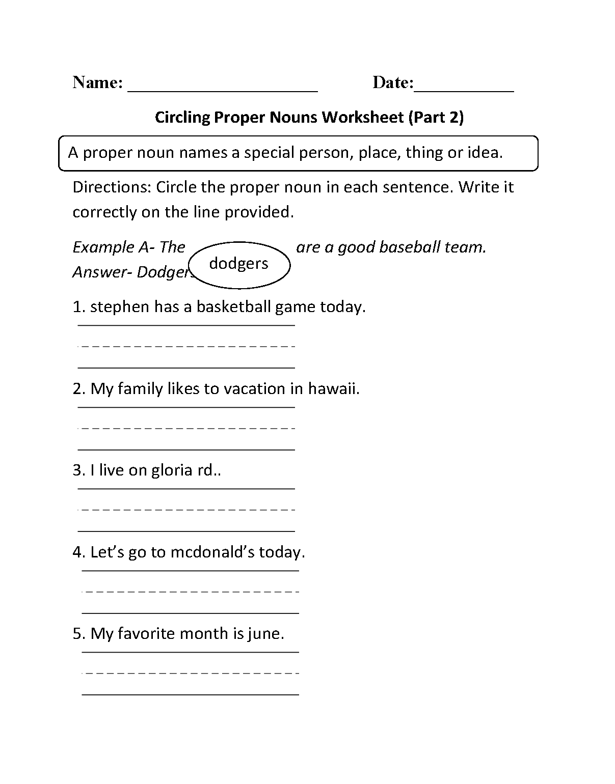 - Nouns Worksheets Proper And Common Nouns Worksheets