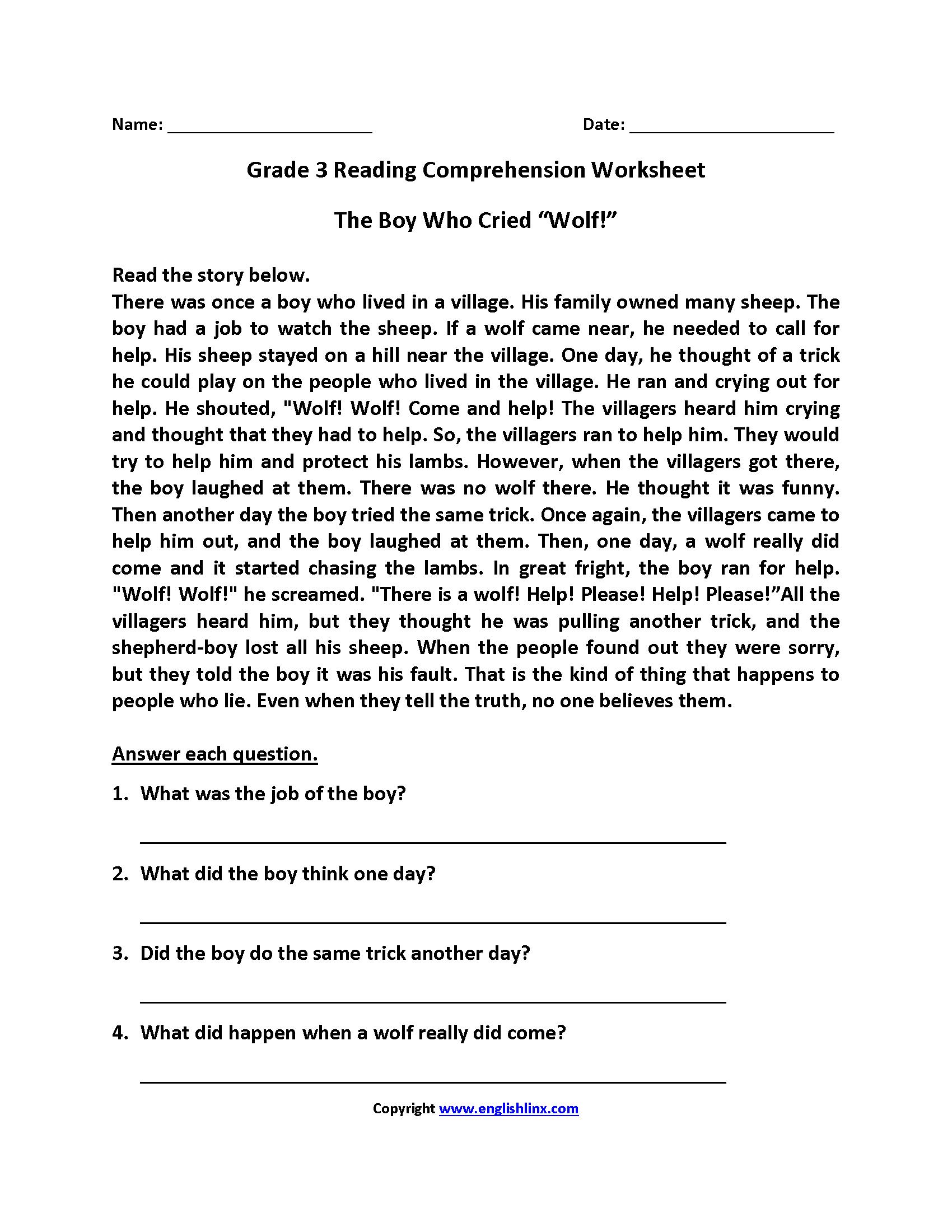 Reading Worksheets | Third Grade Reading Worksheets