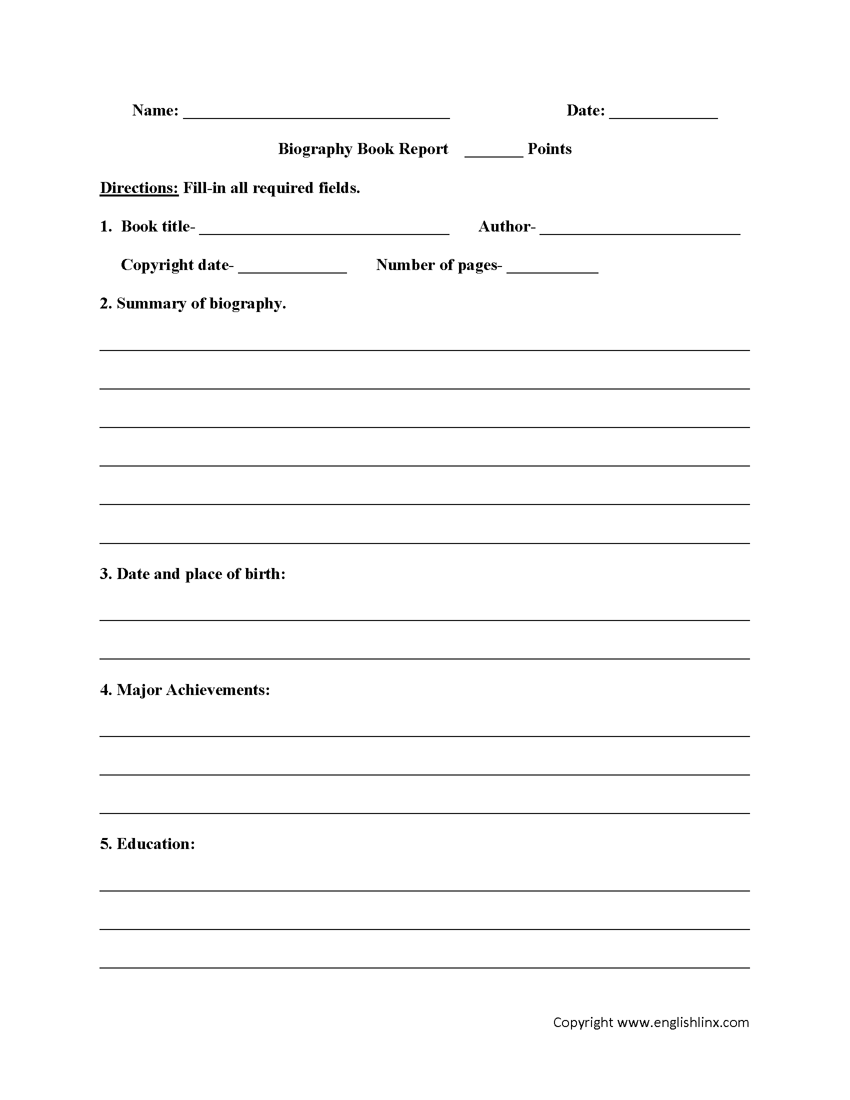 Book Report Worksheets | Biography Book Report Worksheets