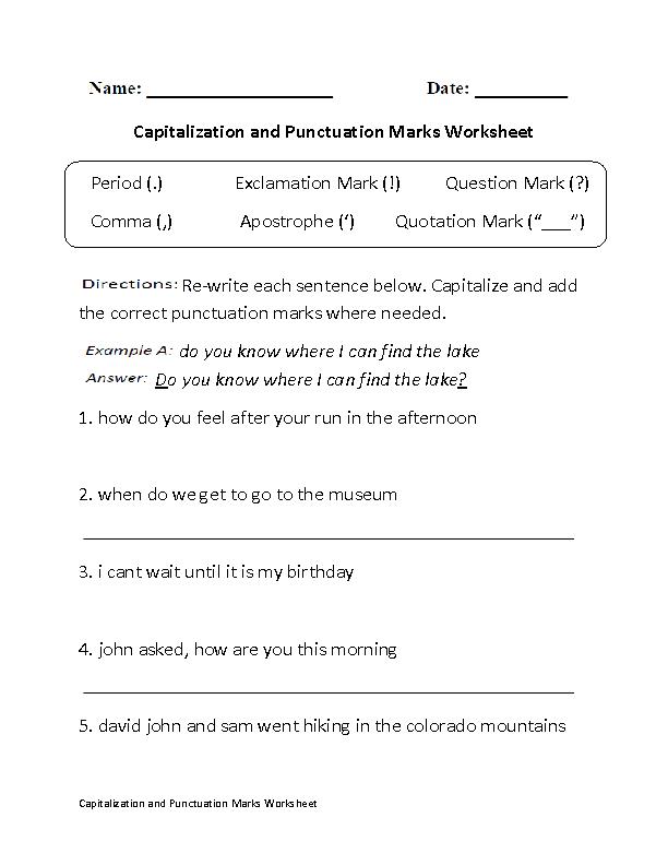 Punctuation Worksheets | Capitalizaton Punctuation Marks Worksheet