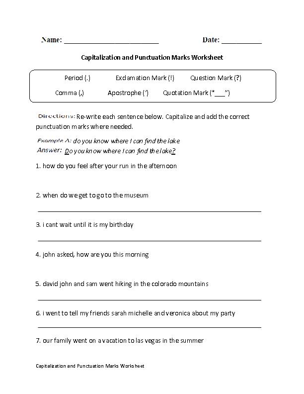 Capitalizaton And Punctuation Marks Worksheet