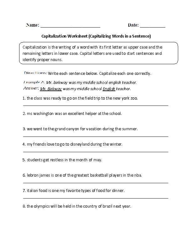 Capitalization Worksheets | Capitalizing Words in Sentence