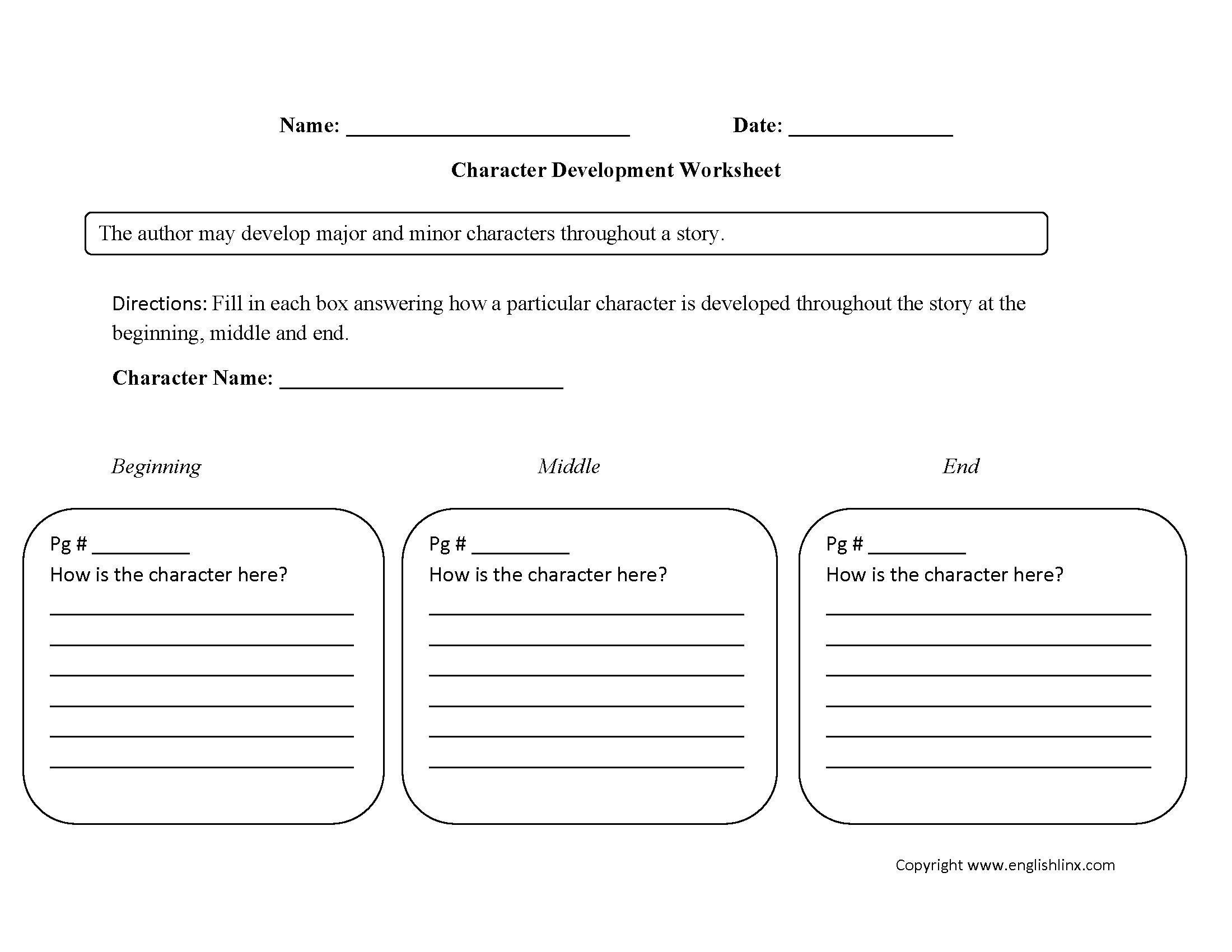 Englishlinx.com | Character Analysis Worksheets