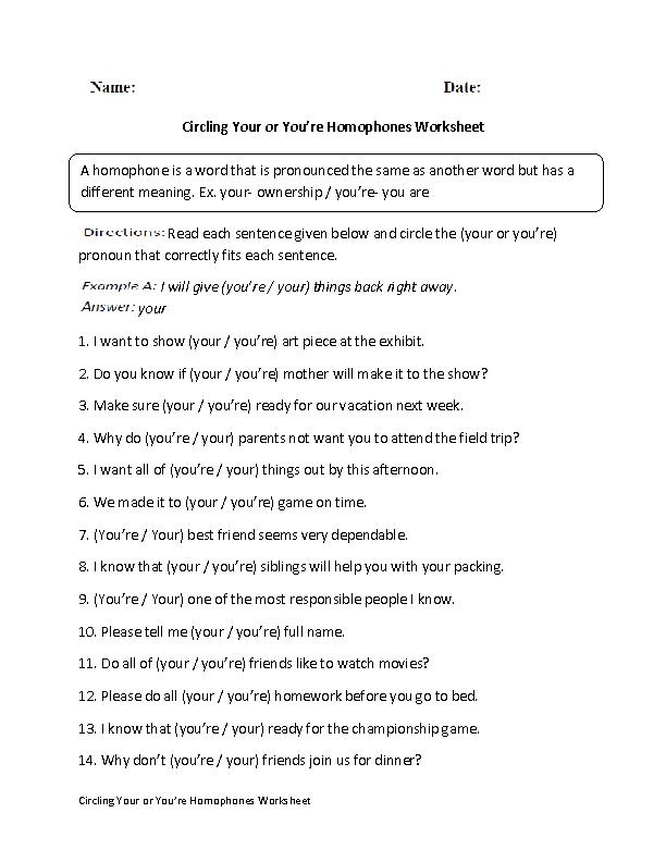 Homophones Worksheets | Your or You're Homophones Worksheet