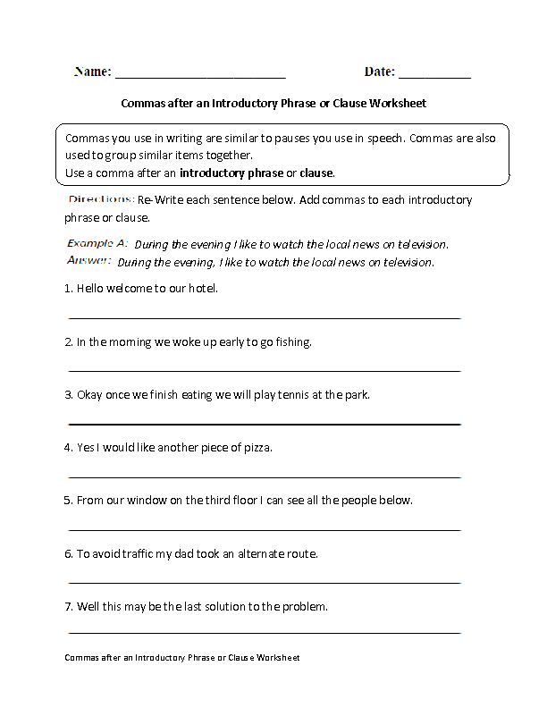 Commas Worksheets | Commas after Introductory Phrase or Clause Worksheet