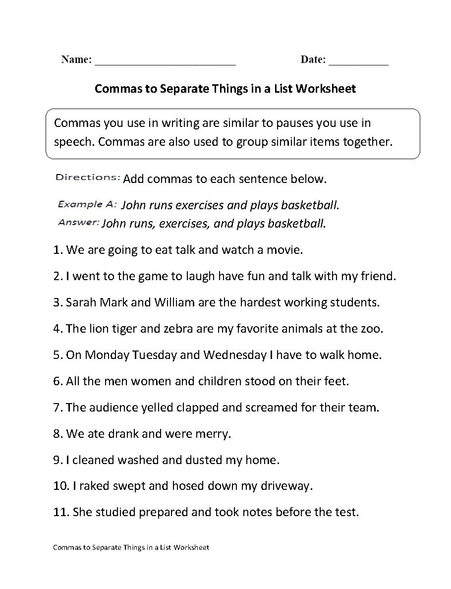 Commas Worksheets | Commas Separate Things in List Worksheet
