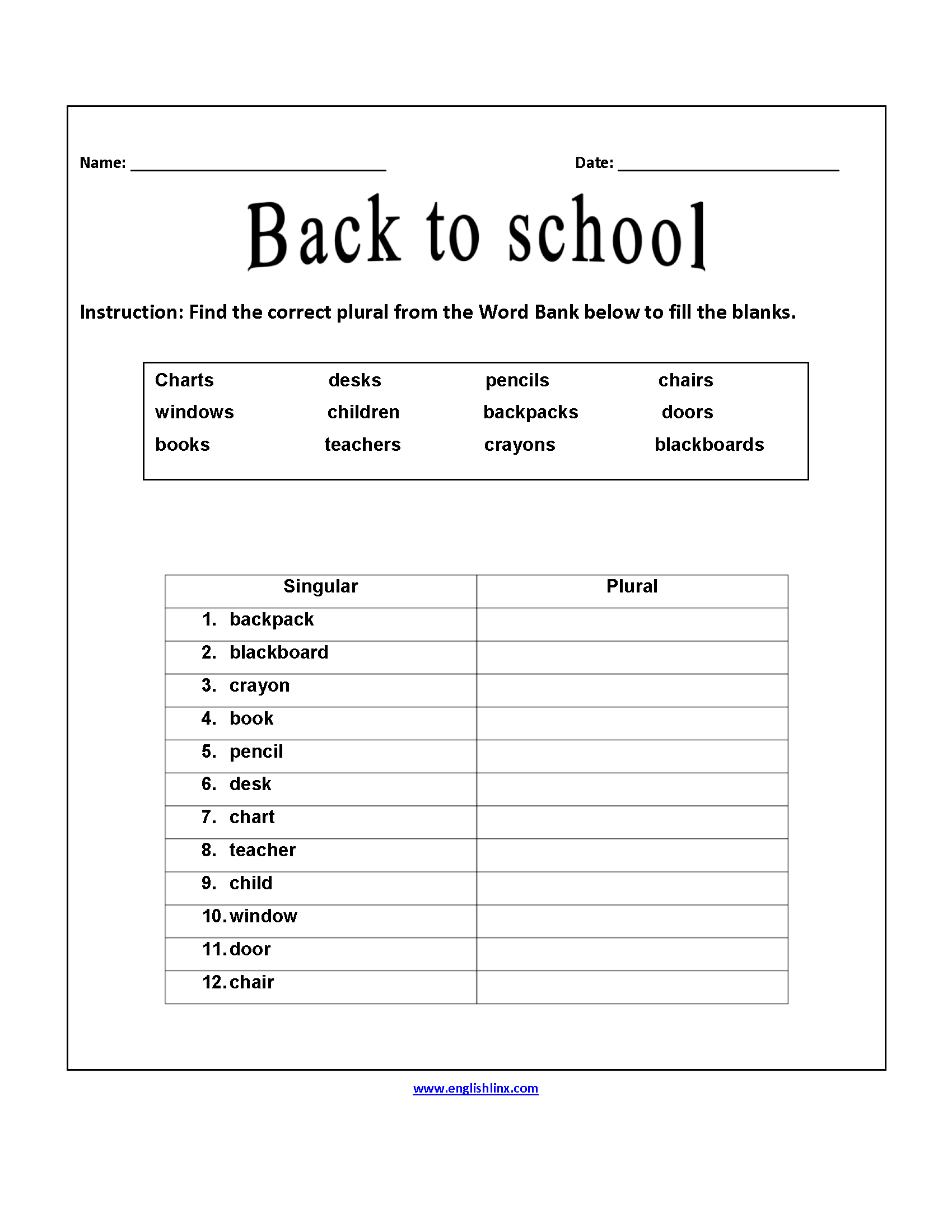photograph about Back to School Printable Worksheets identify Back again in the direction of University Worksheets Suitable Plurals Back again toward Faculty