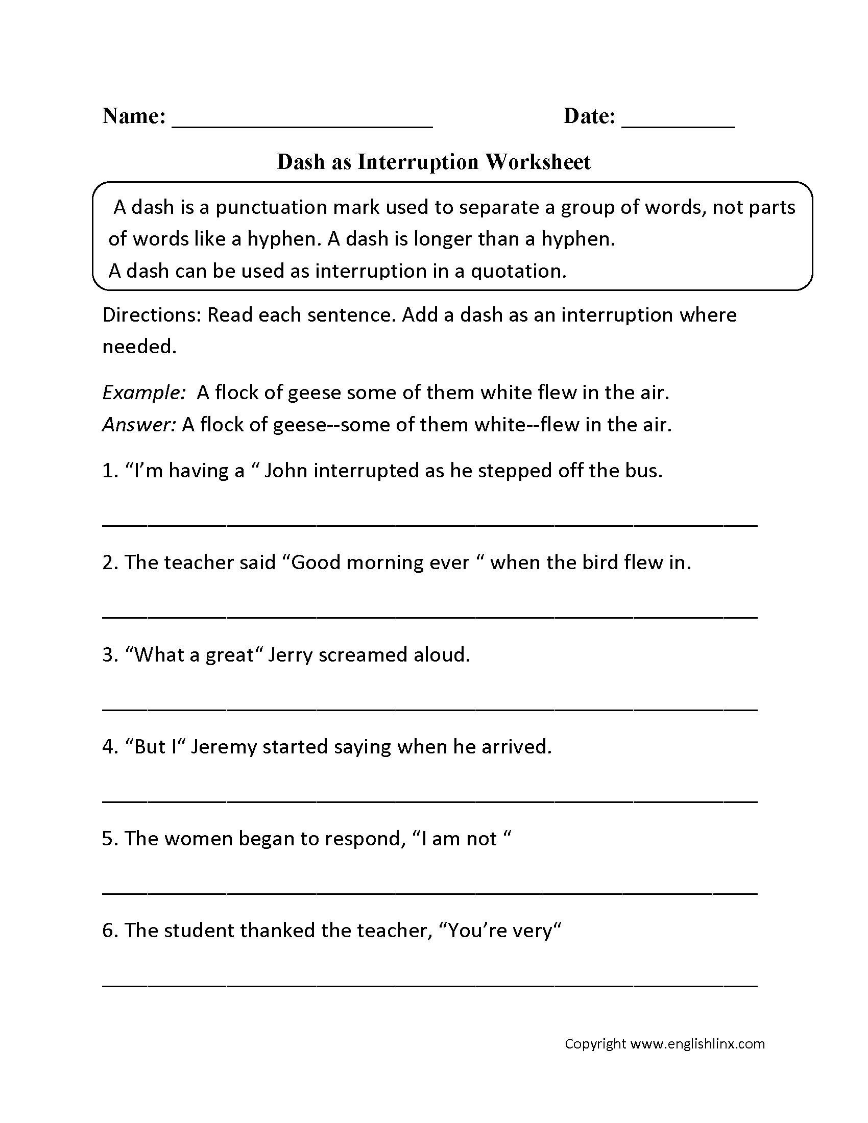 Punctuation Worksheets | Dash Worksheets