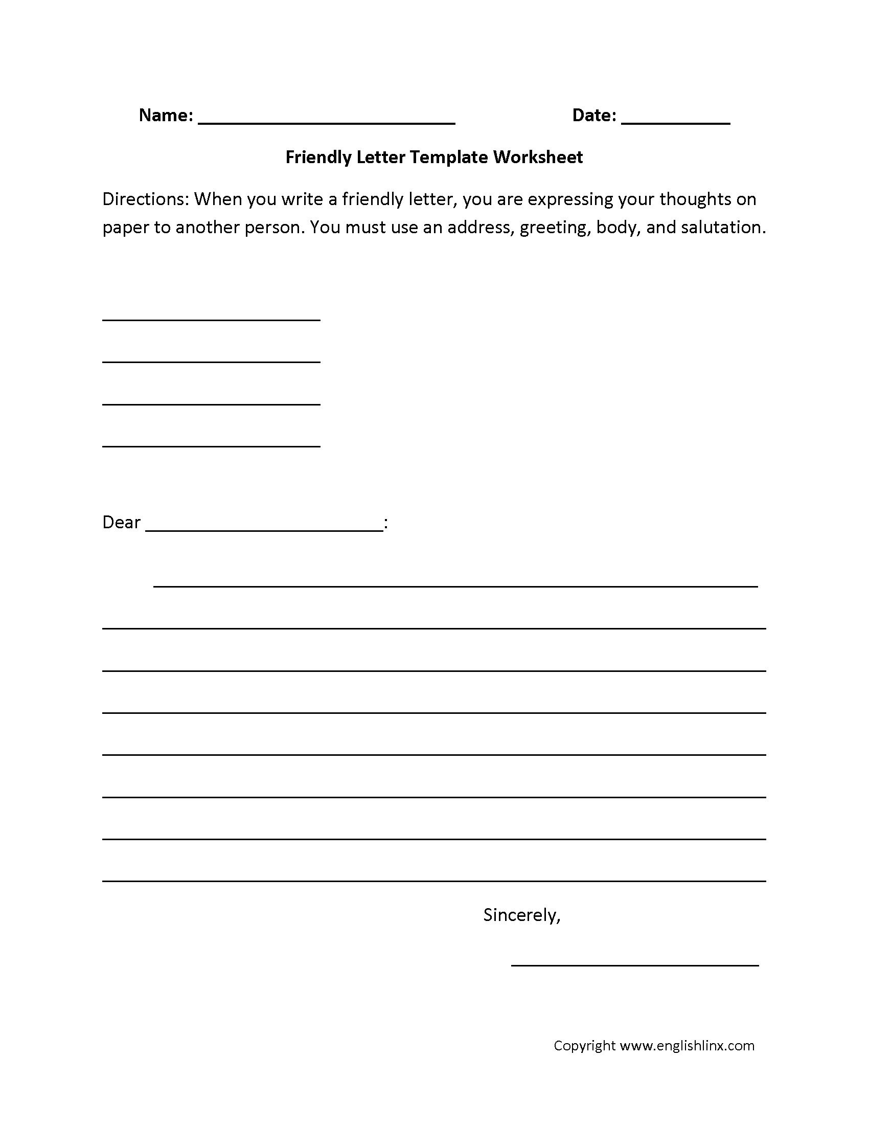 Letter Writing Worksheets | Friendly Letter Writing Worksheets