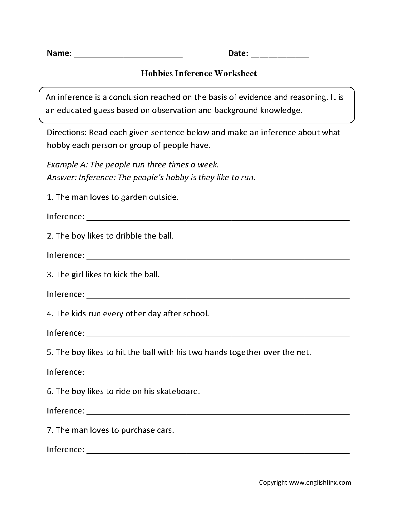 Inference Worksheets | Hobbies Inference Worksheets
