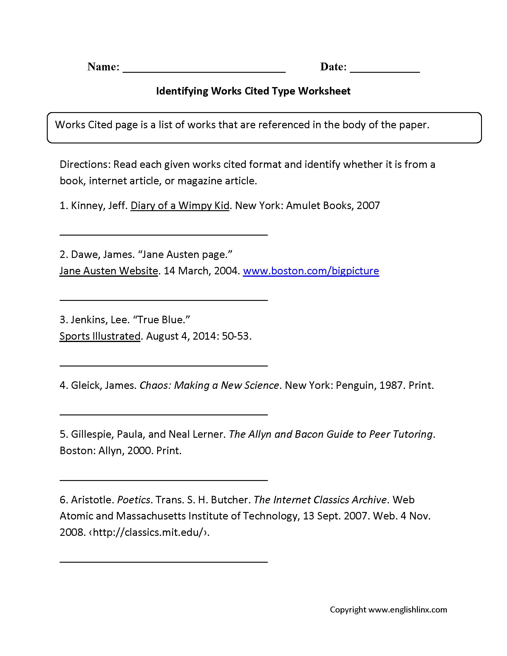 Works Cited Worksheets | Identifying Works Cited Worksheet