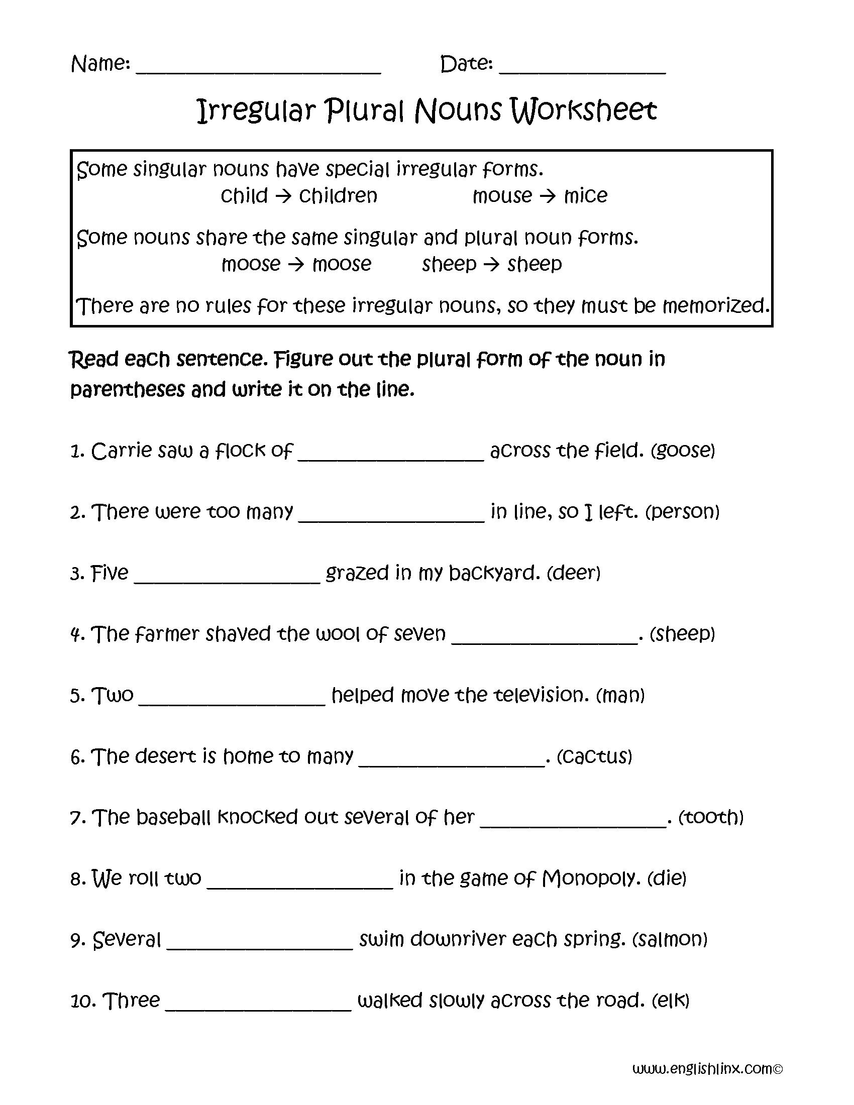 Irregular Nouns Worksheets | Irregular Plural Nouns Worksheets