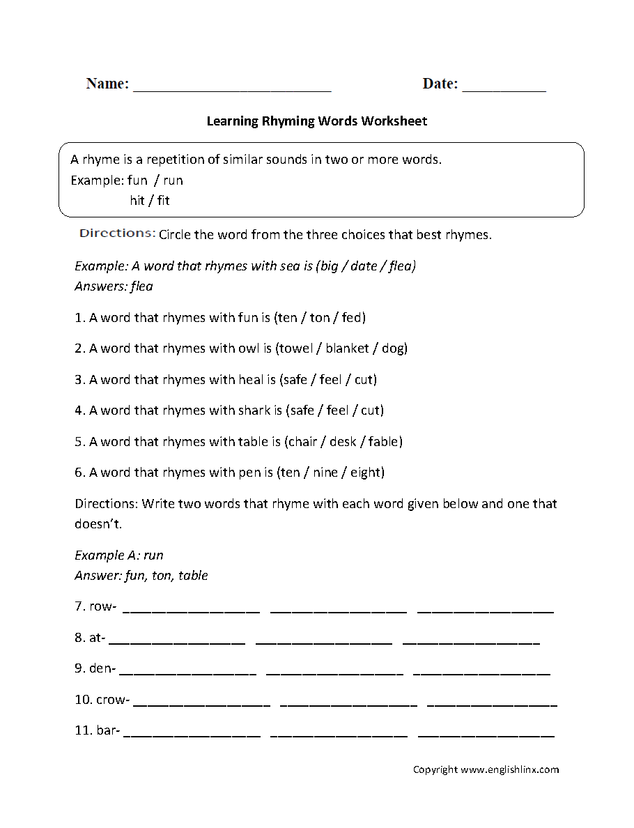 Rhyming Worksheets | Learning Rhyming Words Worksheet