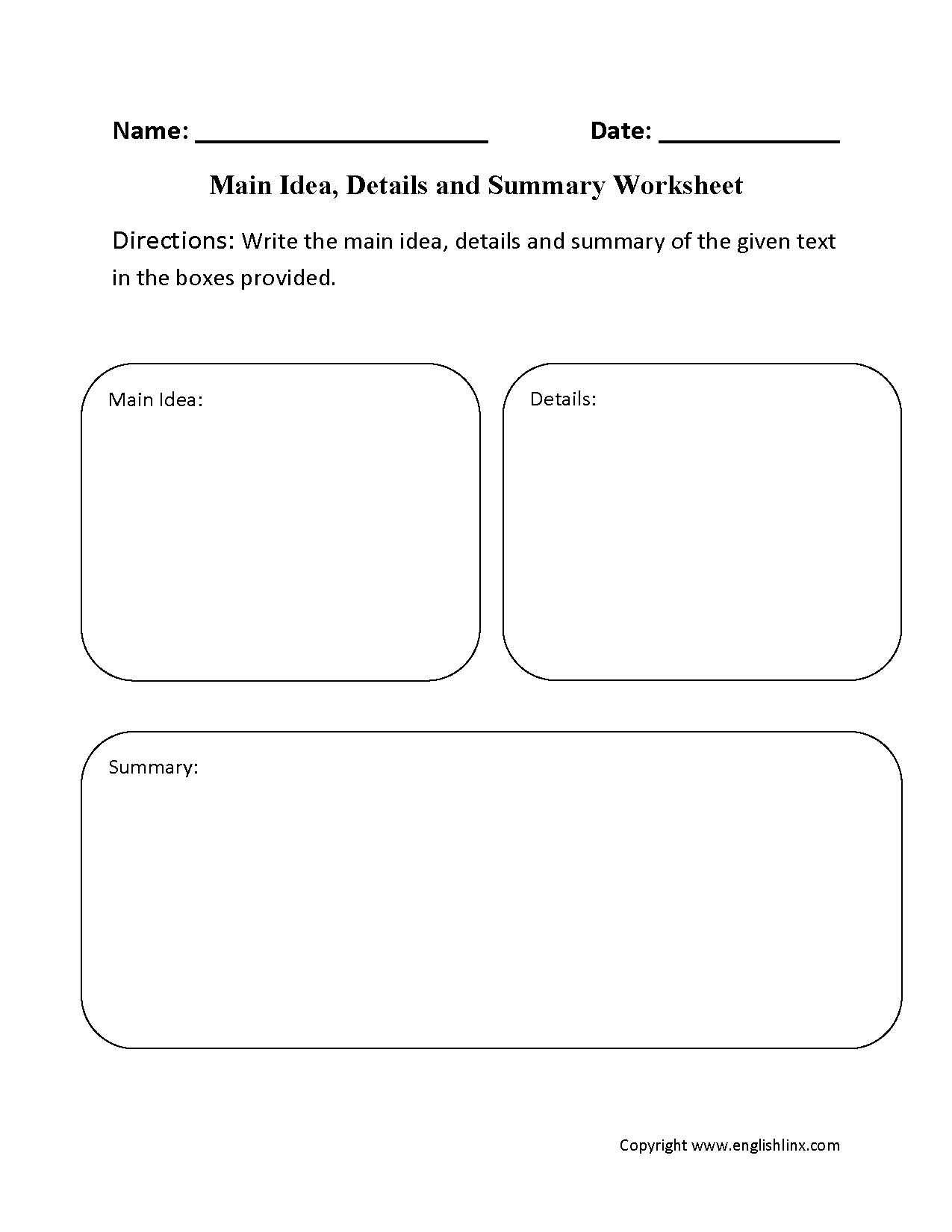 Main Idea Worksheets | Main Idea, Details and Summary Worksheet