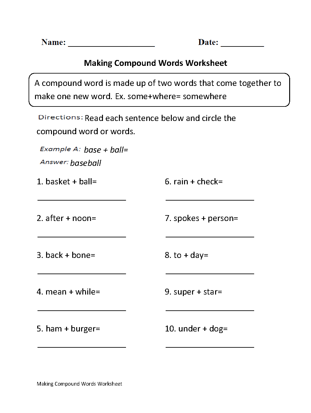Englishlinx com | Compound Words Worksheets