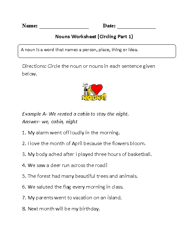Circle The Nouns Worksheet - Worksheet List