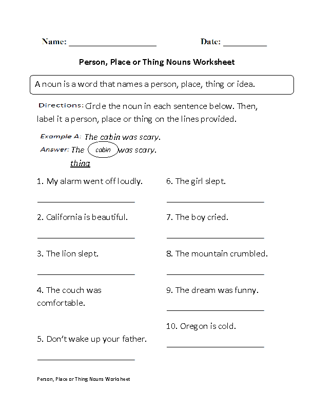 Regular Nouns Worksheets | Person, Place or Thing Nouns ...