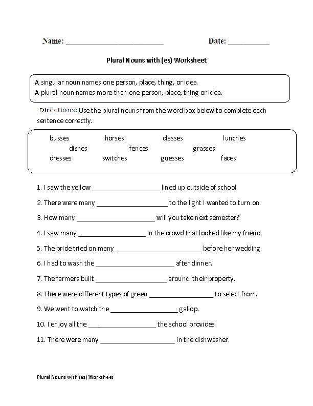 Singular And Plural Nouns Worksheets Plural Nouns With Es Worksheet