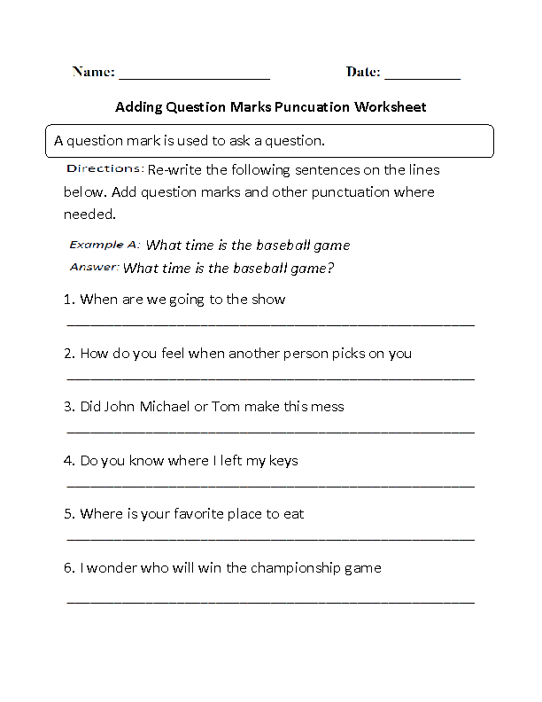 Punctuation Worksheets | Adding Question Marks Worksheet