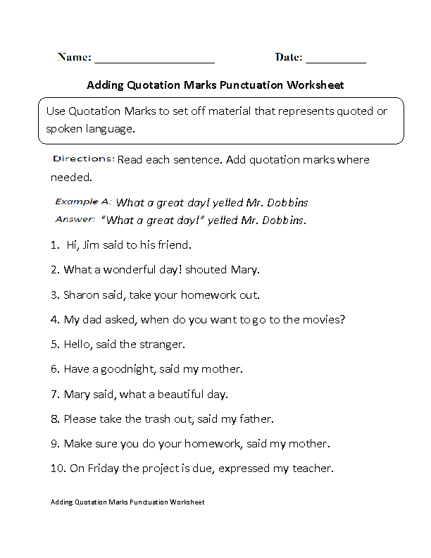 Punctuation Worksheets | Adding Quotation Marks Worksheet