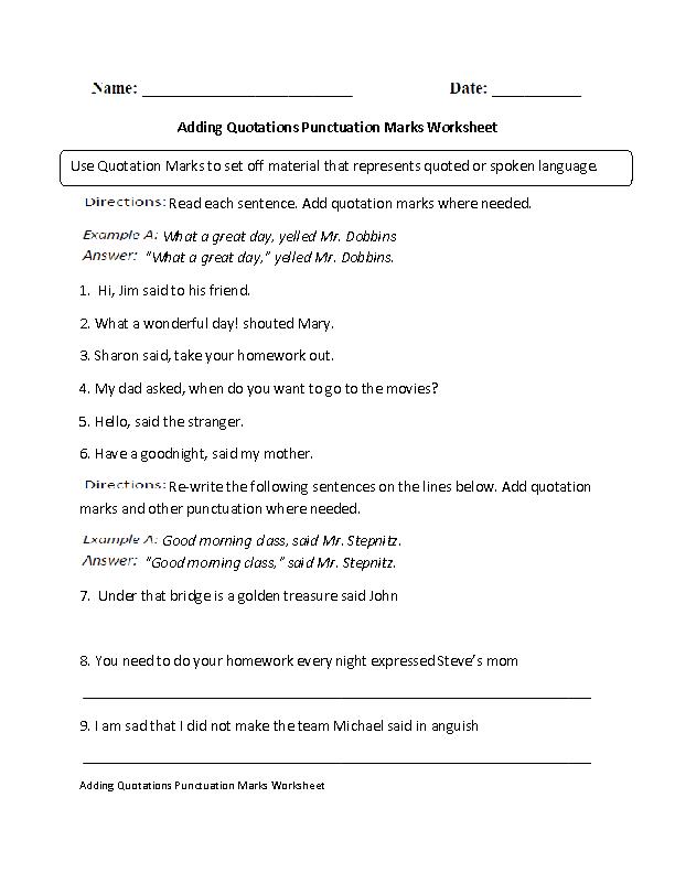 Punctuation Worksheets | Quotation Marks Punctuation Worksheet