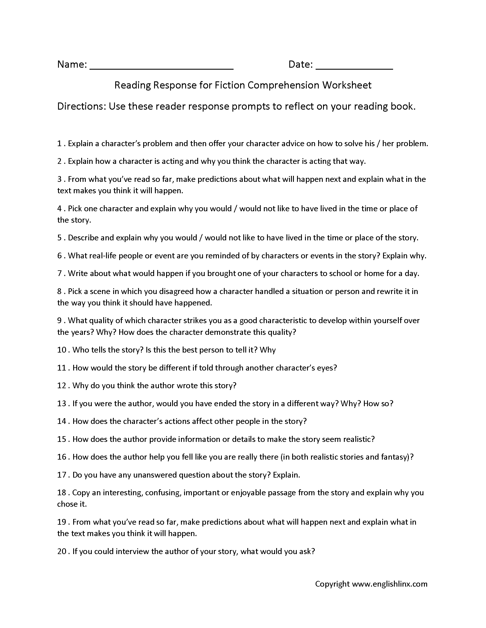 - Englishlinx.com Reading Comprehension Worksheets