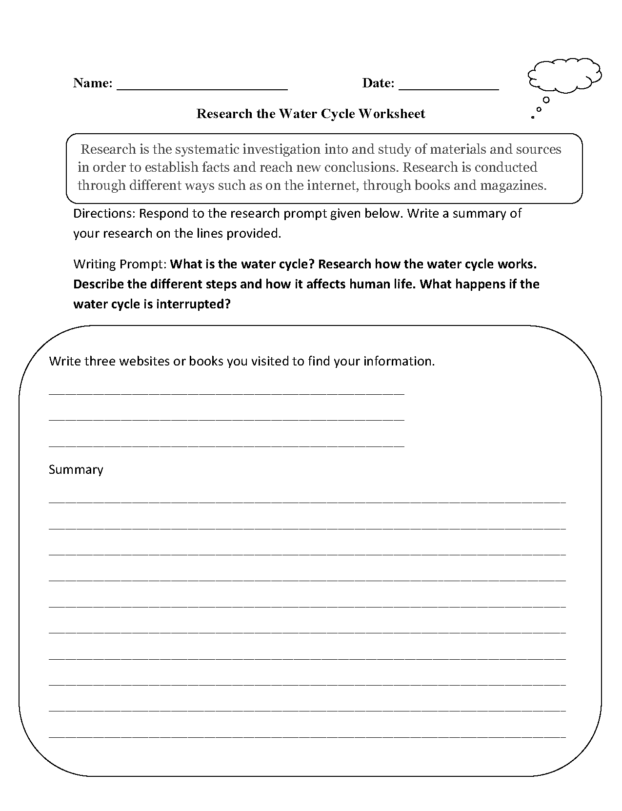 Research Worksheets | Research the Water Cycle Worksheet