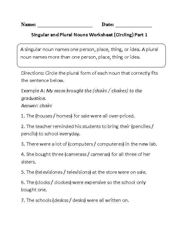 Singular And Plural Nouns Worksheets Circling Singular And Plural Nouns  Worksheet Part 1