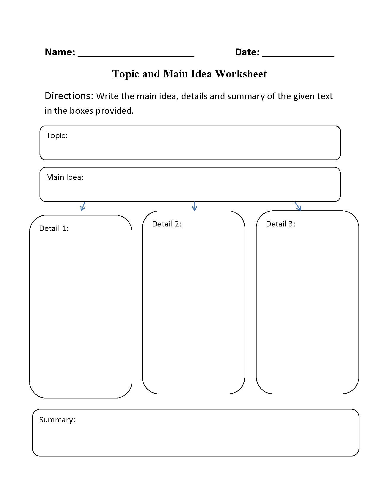 Main Idea Worksheets | Topic and Main Idea Worksheet