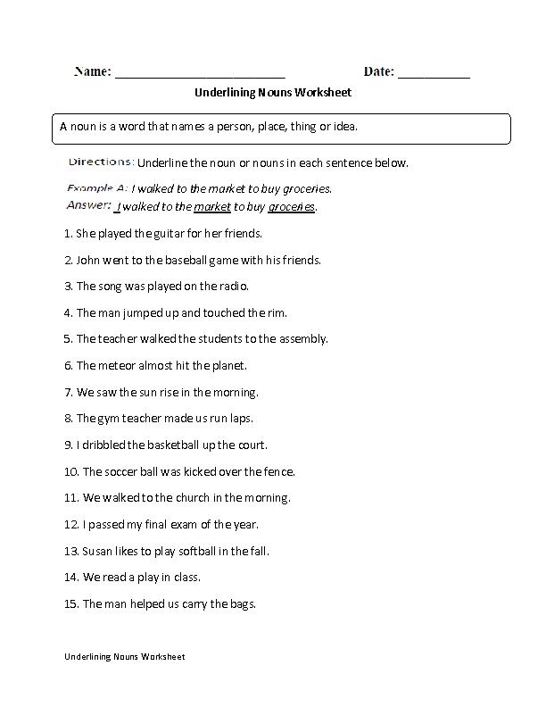 Regular Nouns Worksheets | Underlining Nouns Worksheet
