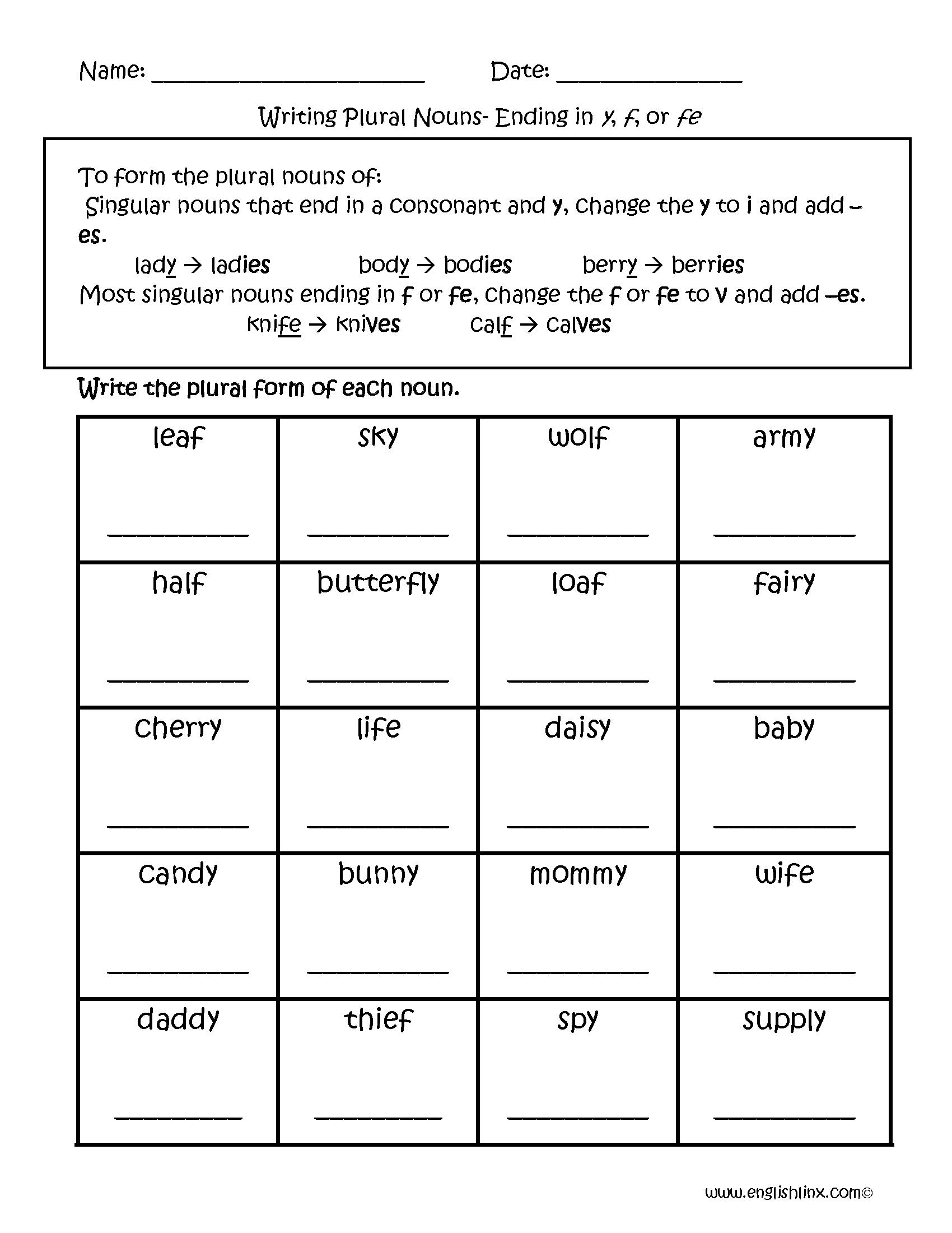Singular and Plural Nouns Worksheets | Writing Plural Nouns Worksheets
