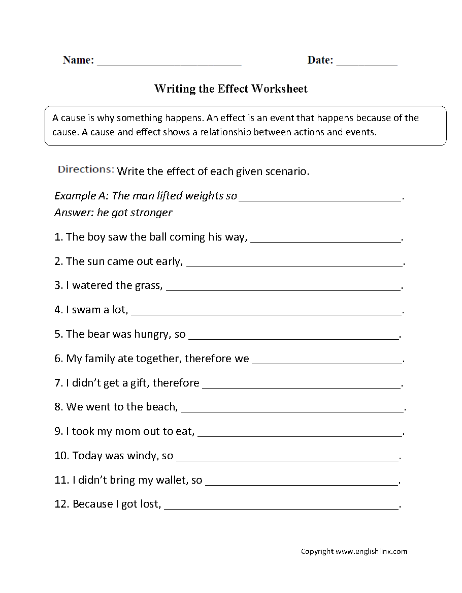 Cause and Effect Worksheets | Writing the Effect Worksheet